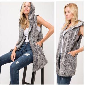 MEANDA- Fuzzy Hooded Open Front Vest